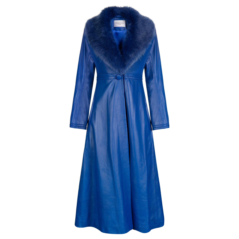 Verheyen London Edward Leather Coat in Blue with Faux Fur - Size uk 8