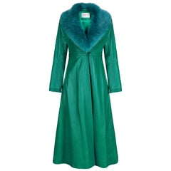 Verheyen London Edward Leather Coat in Green & Green Faux Fur - Size 10  UK