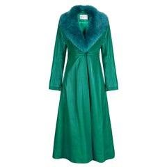 Verheyen London Edward Leather Coat in Green & Green Faux Fur - Size 12 UK