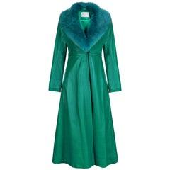 Verheyen London Edward Leather Coat in Green & Green Faux Fur - Size 14 UK