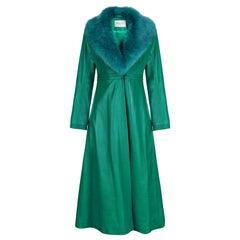 Verheyen London Edward Leather Coat in Green & Green Faux Fur - Size 16 UK