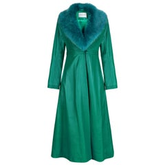 Verheyen London Edward Leather Coat in Green & Green Faux Fur - Size 6 UK