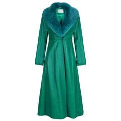 Verheyen London Edward Leather Coat in Green & Green Faux Fur - Size 8 UK