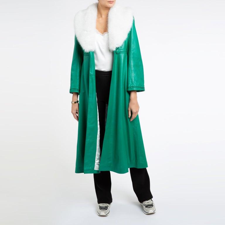 Verheyen London Edward Leather Coat in Green & White Faux Fur - Size 12 UK  For Sale 5