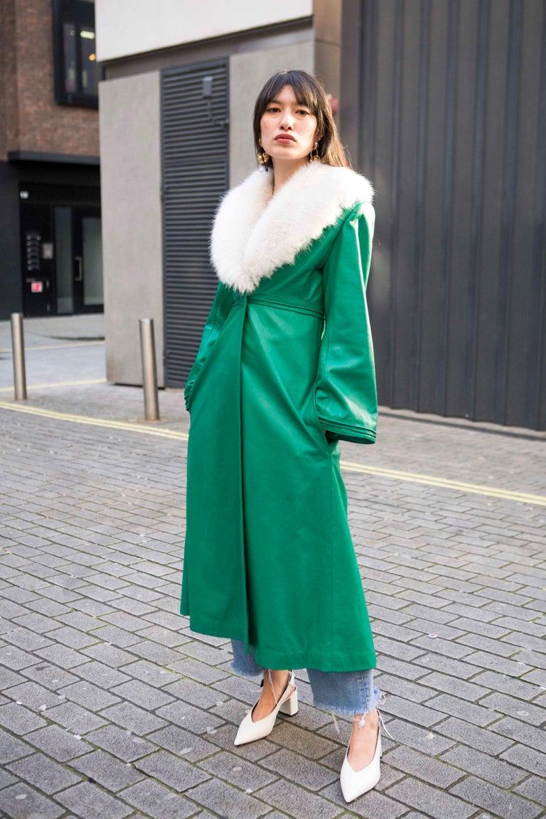 Verheyen London Edward Leather Coat in Green & White Faux Fur - Size 12 UK  For Sale 6