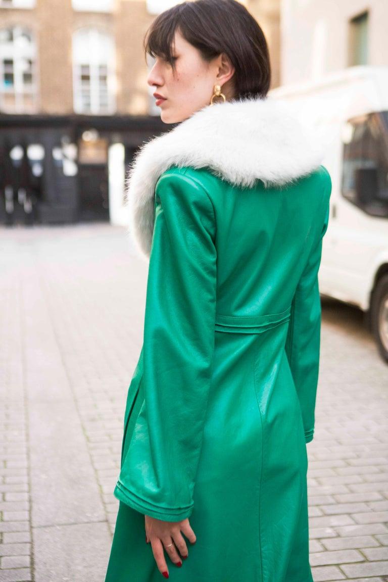 Verheyen London Edward Leather Coat in Green & White Faux Fur - Size 12 UK  For Sale 7