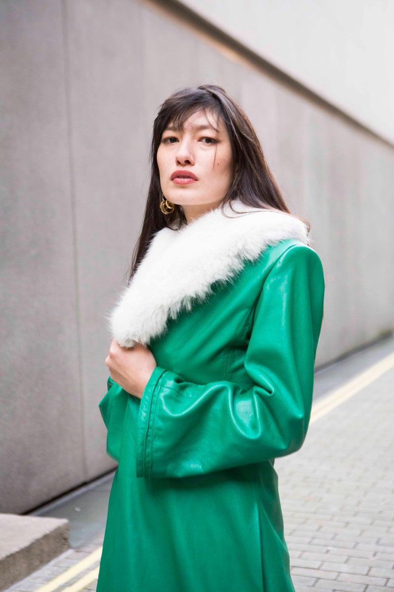 Verheyen London Edward Leather Coat in Green & White Faux Fur - Size 12 UK  For Sale 8