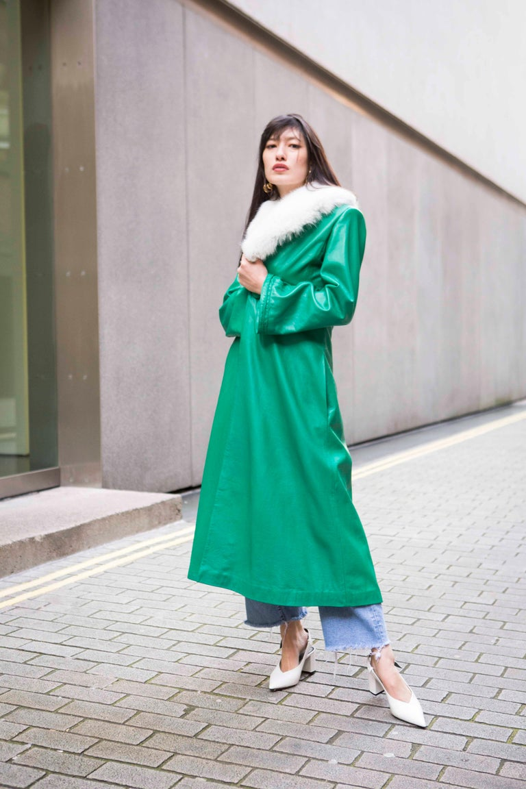 Verheyen London Edward Leather Coat in Green & White Faux Fur - Size 12 UK  For Sale 9