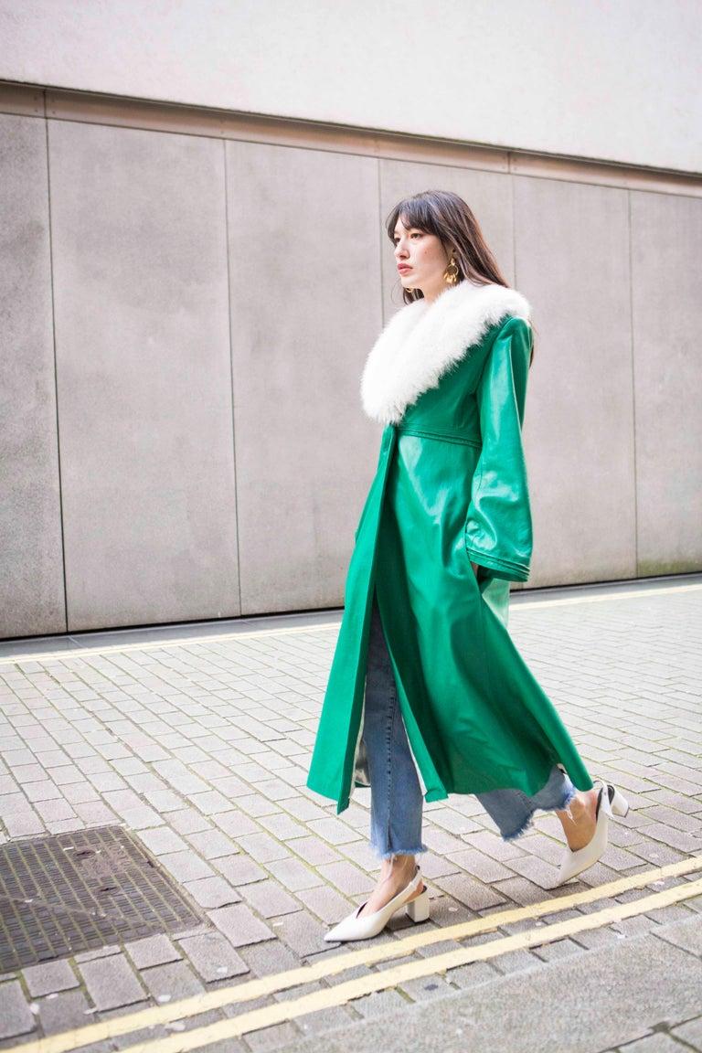 Verheyen London Edward Leather Coat in Green & White Faux Fur - Size 12 UK  For Sale 10