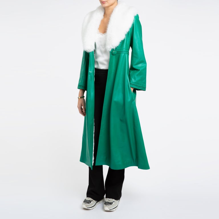Verheyen London Edward Leather Coat in Green & White Faux Fur - Size 12 UK   The Edward Leather Coat created by Verheyen London is a romantic design inspired by the 1970s and Edwardian Era of Fashion.  A timeless design to be be worn for a lifetime