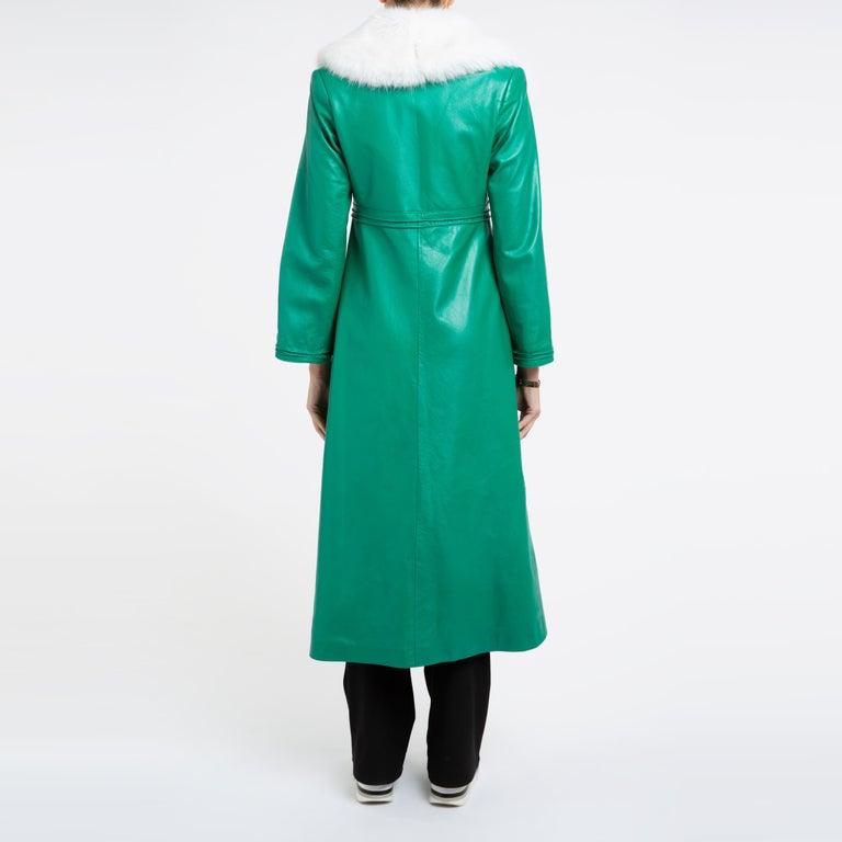 Blue Verheyen London Edward Leather Coat in Green & White Faux Fur - Size 12 UK  For Sale