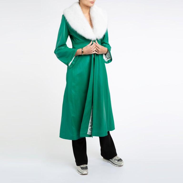 Verheyen London Edward Leather Coat in Green & White Faux Fur - Size 12 UK  In New Condition For Sale In London, GB