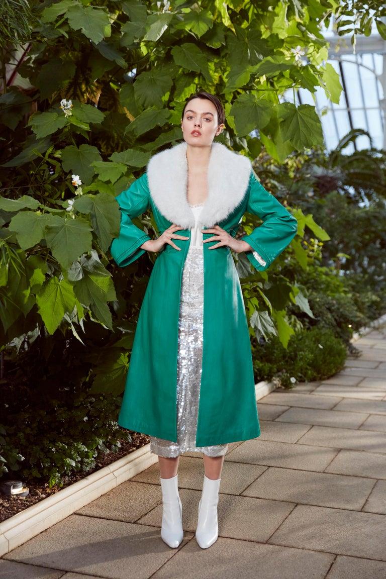 Verheyen London Edward Leather Coat in Green & White Faux Fur - Size 12 UK  For Sale 1