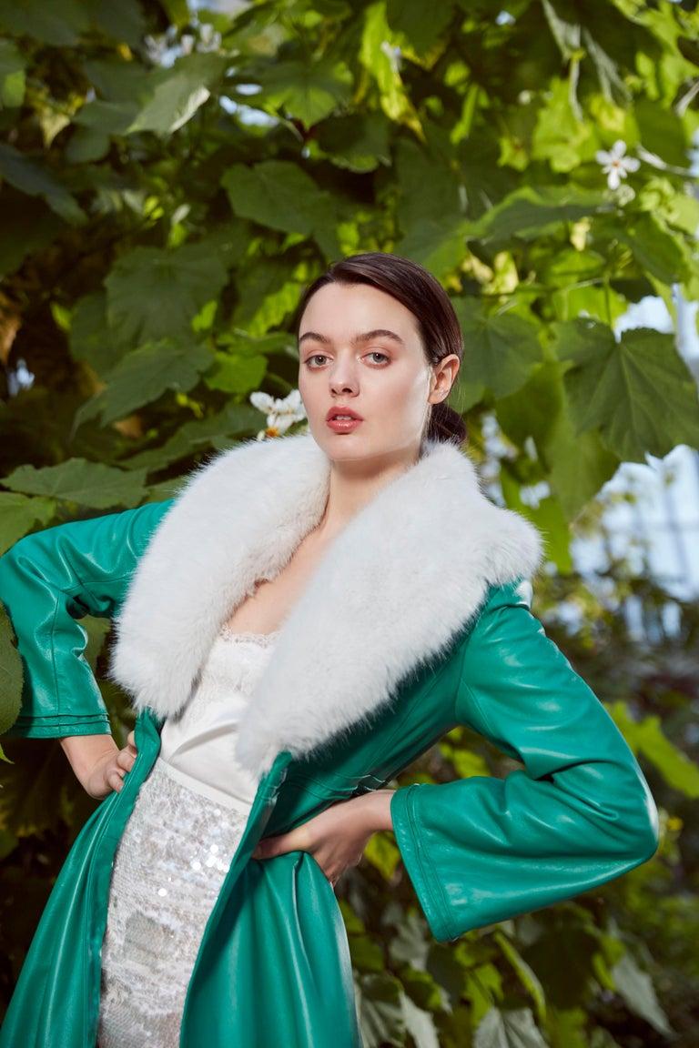 Verheyen London Edward Leather Coat in Green & White Faux Fur - Size 12 UK  For Sale 2