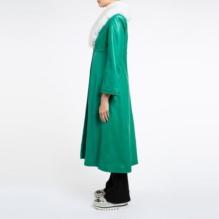 Verheyen London Edward Leather Coat in Green & White Faux Fur - Size 12 UK  For Sale 3