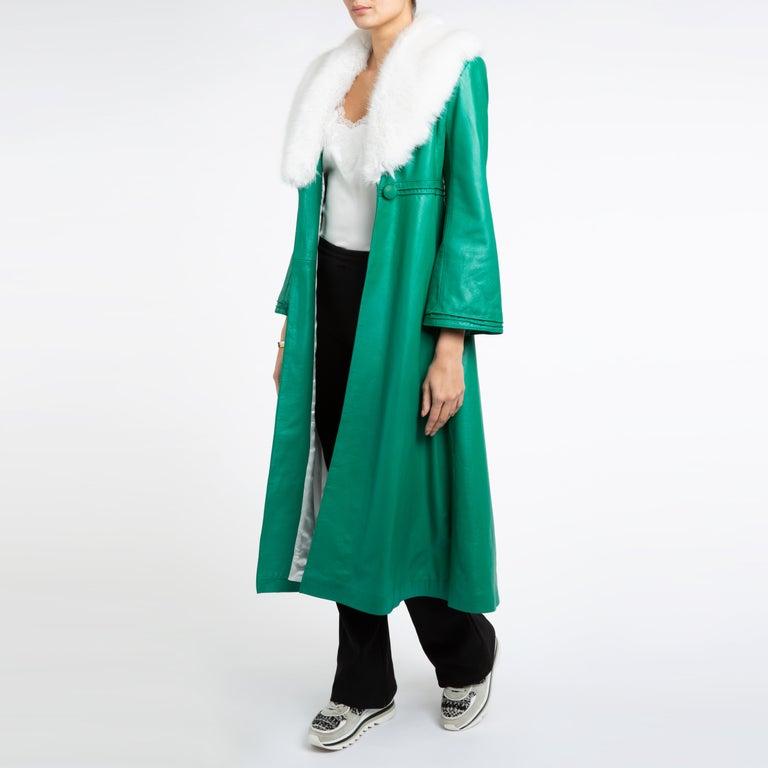 Verheyen London Edward Leather Coat in Green & White Faux Fur - Size 12 UK  For Sale 4