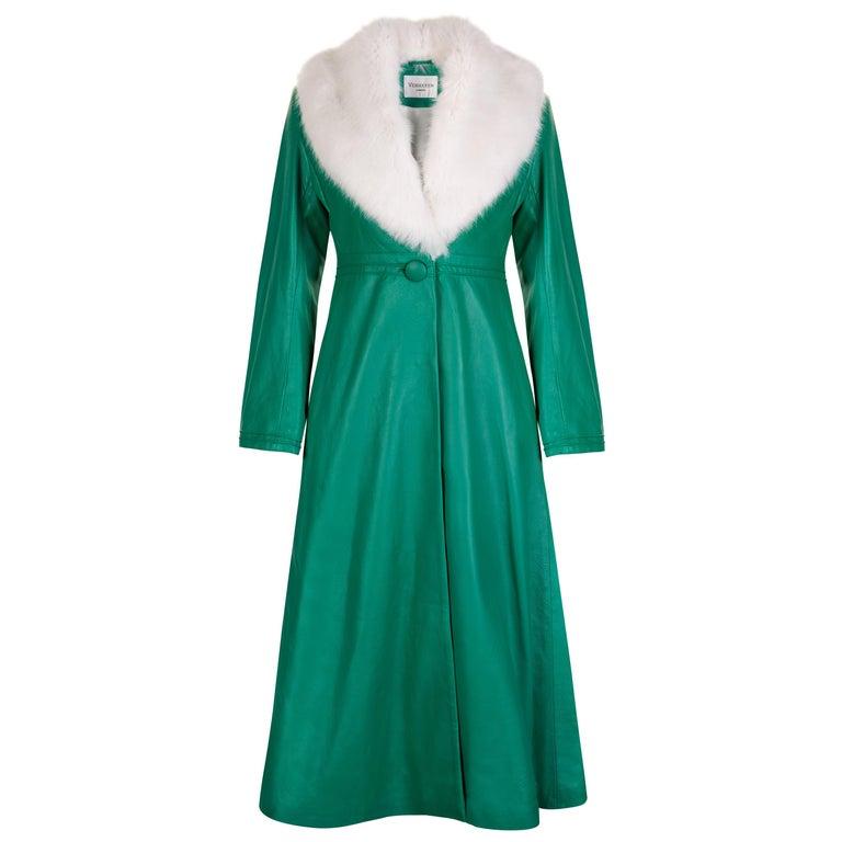 Verheyen London Edward Leather Coat in Green & White Faux Fur - Size 12 UK  For Sale