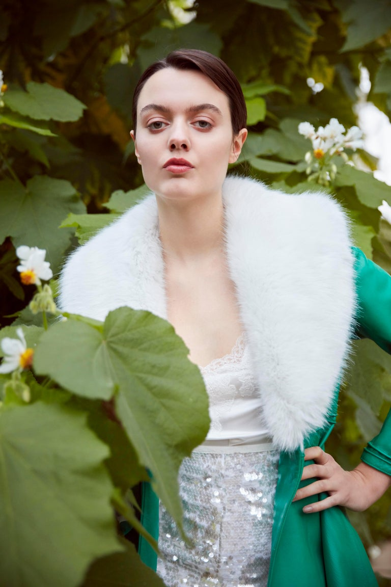 Verheyen London Edward Leather Coat in Green & White Faux Fur - Size 6 UK   The Edward Leather Coat created by Verheyen London is a romantic design inspired by the 1970s and Edwardian Era of Fashion.  A timeless design to be be worn for a lifetime