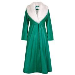 Verheyen London Edward Leather Coat in Green & White Faux Fur - Size 6 UK