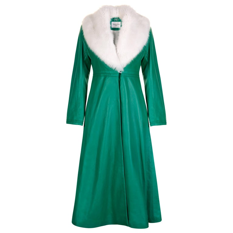 Verheyen London Edward Leather Coat in Green & White Faux Fur - Size uk 8 UK  For Sale