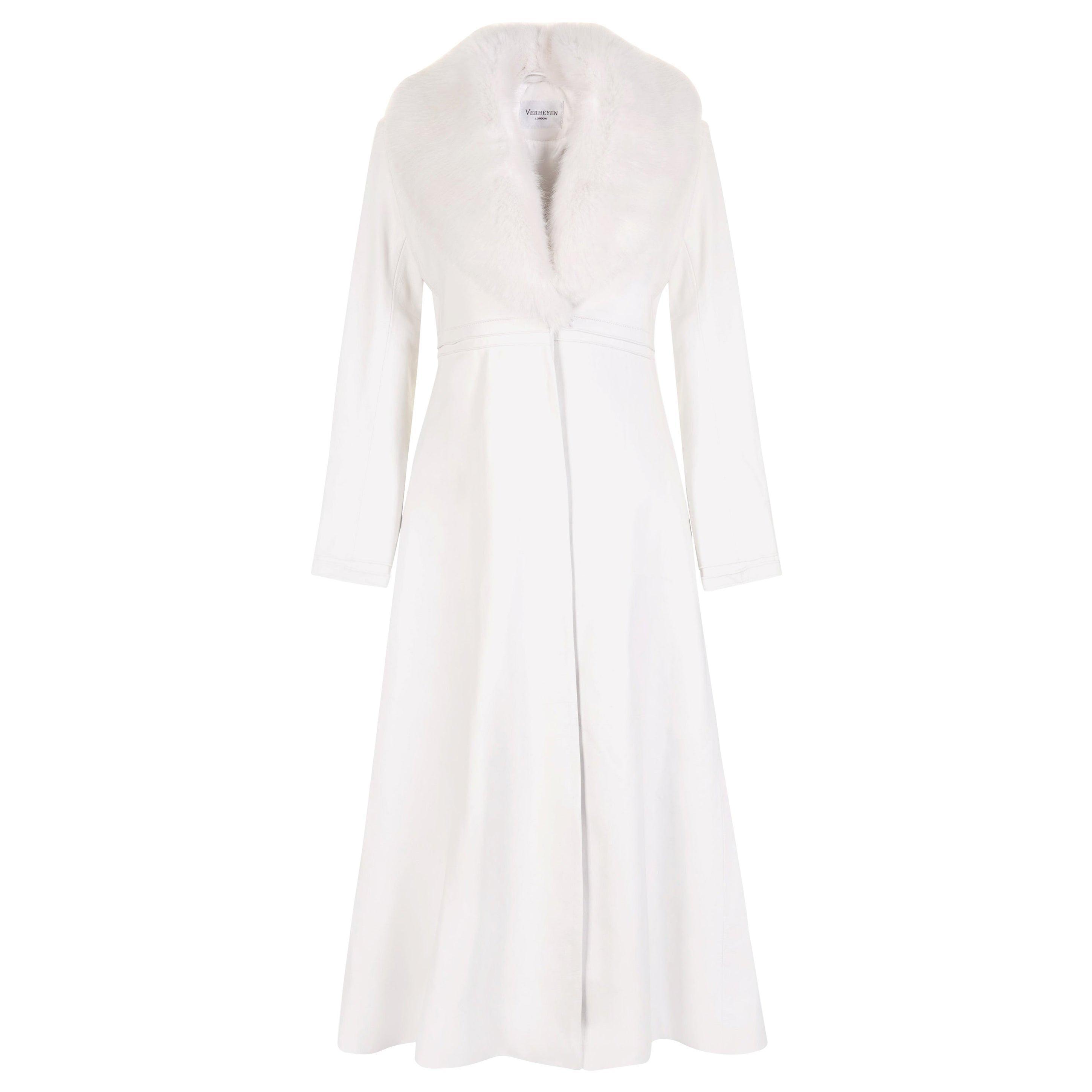 Verheyen London Edward Leather Coat in White with Faux Fur - Size uk 12