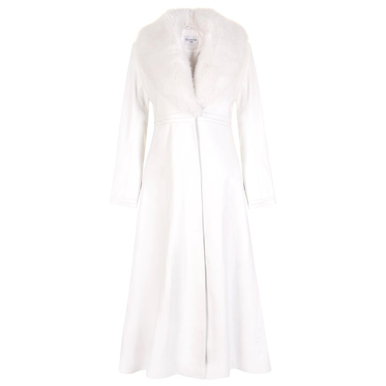 Verheyen London Edward Leather Coat in White with Faux Fur - uk size 6  For Sale