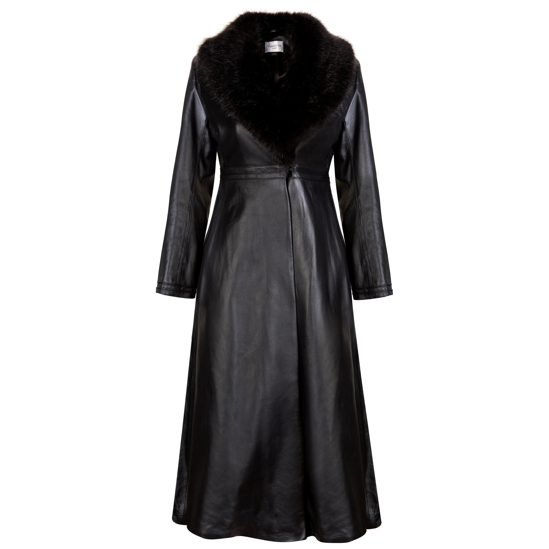 Verheyen London Edward Leather Coat with Faux Fur Collar in Black - Size uk 10