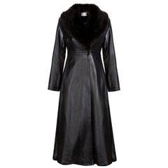 Verheyen London Edward Leather Coat with Faux Fur Collar in Black - Size uk 12