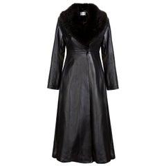 Verheyen London Edward Leather Coat with Faux Fur Collar in Black - Size uk 16