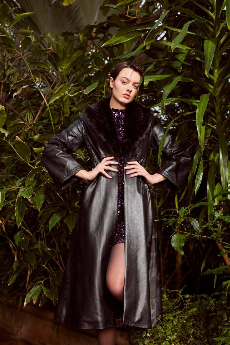 Verheyen London Edward Leather Coat with Faux Fur Collar in Black - Size uk 8 For Sale 6