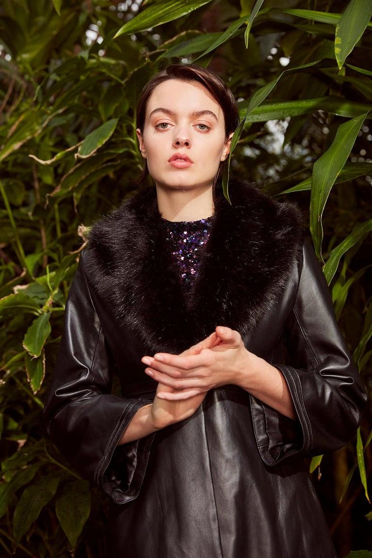 Verheyen London Edward Leather Coat with Faux Fur Collar in Black - Size uk 8 For Sale 7