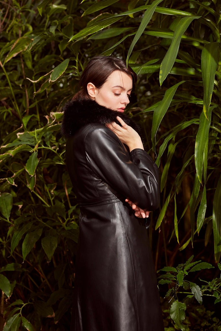 Verheyen London Edward Leather Coat with Faux Fur Collar in Black - Size uk 8 For Sale 8