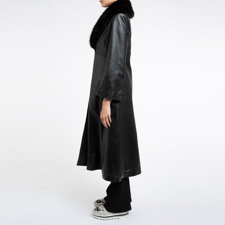 Verheyen London Edward Leather Coat with Faux Fur Collar in Black - Size uk 8 For Sale 9