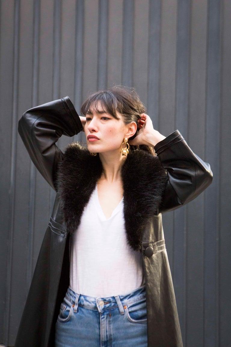 Verheyen London Edward Leather Coat with Faux Fur Collar in Black - Size uk 8 For Sale 10