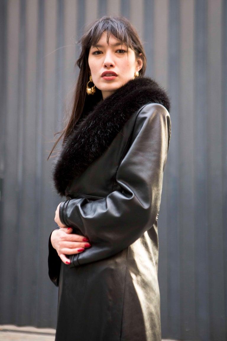 Verheyen London Edward Leather Coat with Faux Fur Collar in Black - Size uk 8 For Sale 11