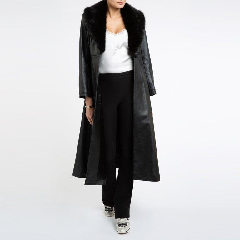 Verheyen London Edward Leather Coat with Faux Fur Collar in Black - Size uk 8 For Sale 12