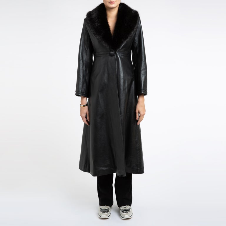 Verheyen London Edward Leather Coat with Faux Fur Collar in Black - Size uk 8 For Sale 13
