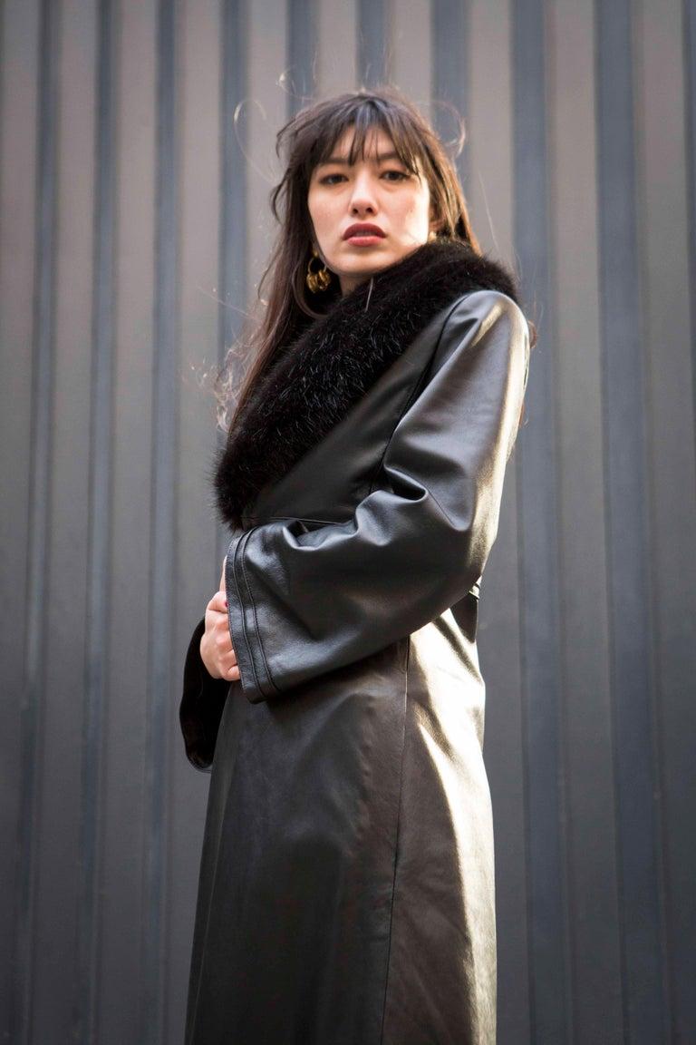 Verheyen London Edward Leather Coat with Faux Fur Collar in Black - Size uk 8 For Sale 1