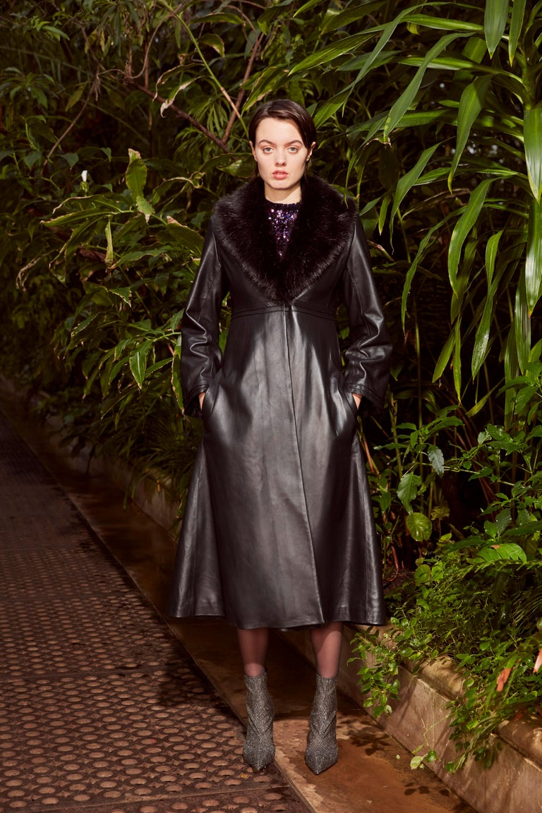 Verheyen London Edward Leather Coat with Faux Fur Collar in Black - Size uk 8 For Sale 3