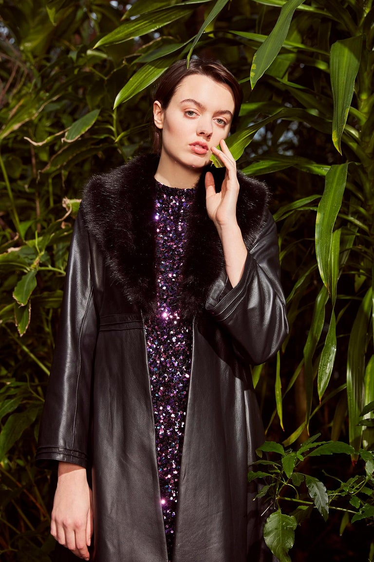 Verheyen London Edward Leather Coat with Faux Fur Collar in Black - Size uk 8 For Sale 4