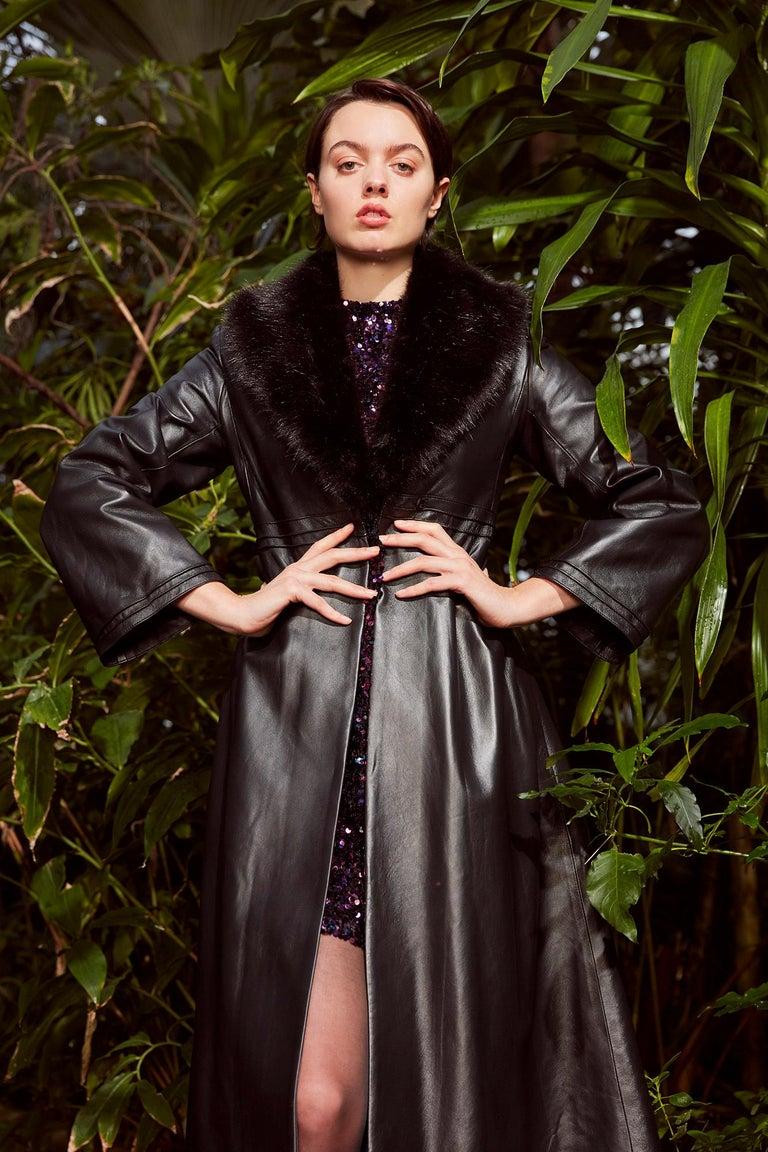 Verheyen London Edward Leather Coat with Faux Fur Collar in Black - Size uk 8 For Sale 5