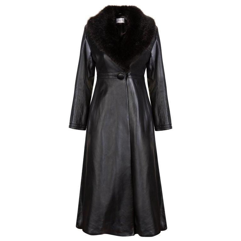 Verheyen London Edward Leather Coat with Faux Fur Collar in Black - Size uk 8 For Sale