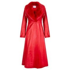 Verheyen London Edward Leather Coat with Faux Fur Collar in Red - Size uk 10