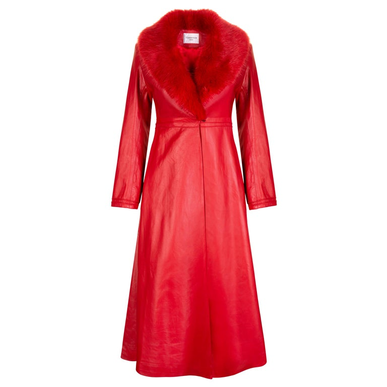 Verheyen London Edward Leather Coat with Faux Fur Collar in Red - Size uk 10 For Sale