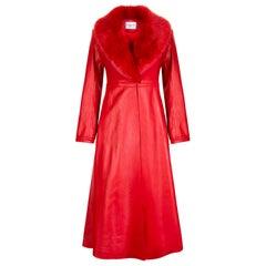 Verheyen London Edward Leather Coat with Faux Fur Collar in Red - Size uk 12