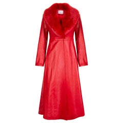 Verheyen London Edward Leather Coat with Faux Fur Collar in Red - Size uk 6