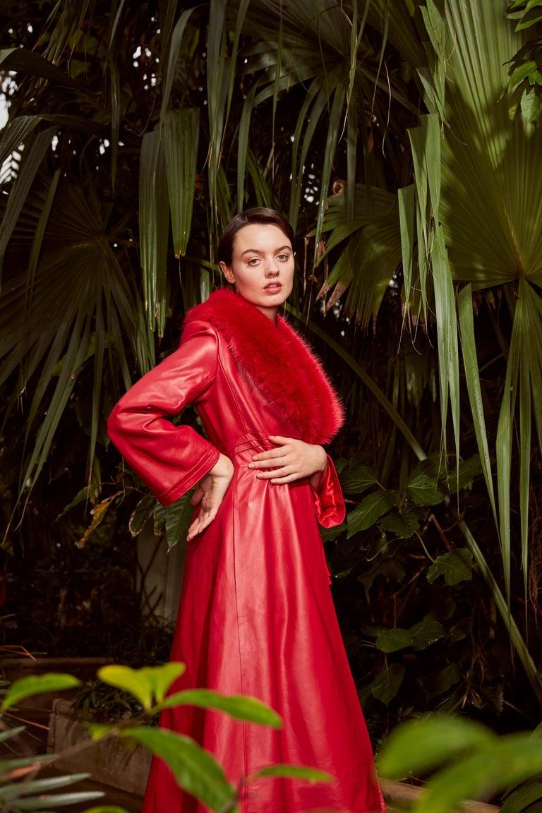 Women's Verheyen London Edward Leather Coat with Faux Fur Collar in Red - Size uk 6 UK  For Sale