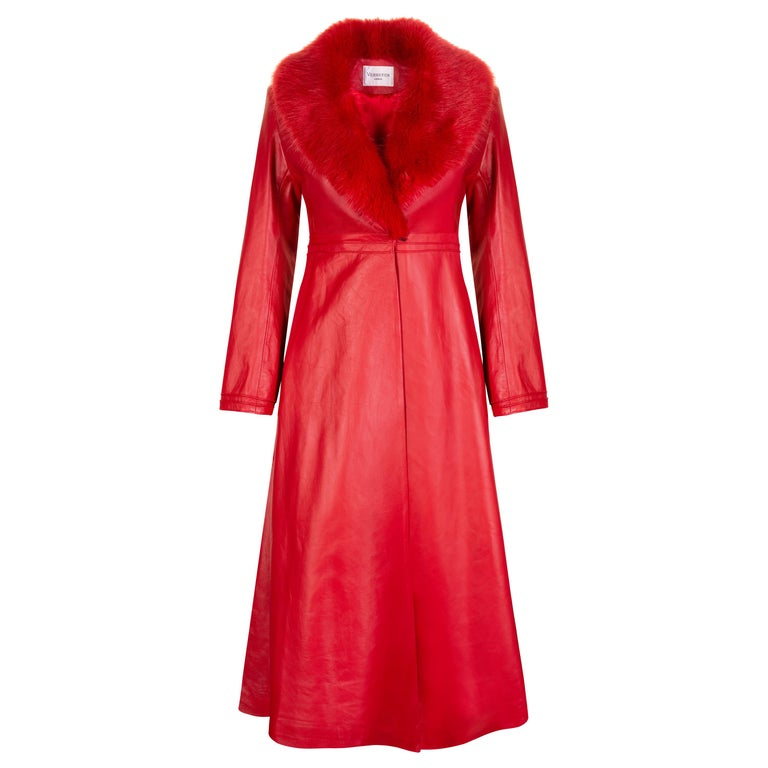 Verheyen London Edward Leather Coat with Faux Fur Collar in Red - Size uk 6 UK  For Sale