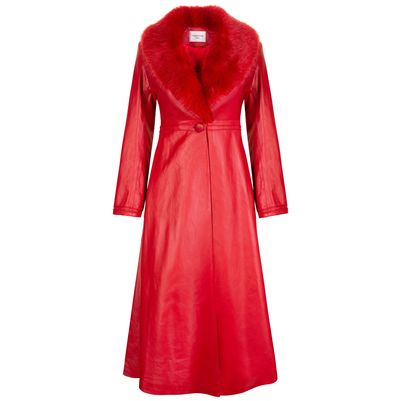 Verheyen London Edward Leather Coat with Faux Fur Collar in Red - Size uk 8