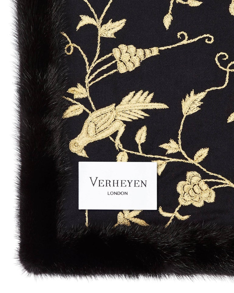 Black Verheyen London Embroidered Indian Love Mogul Shawl & Mink Fur - Brand New  For Sale